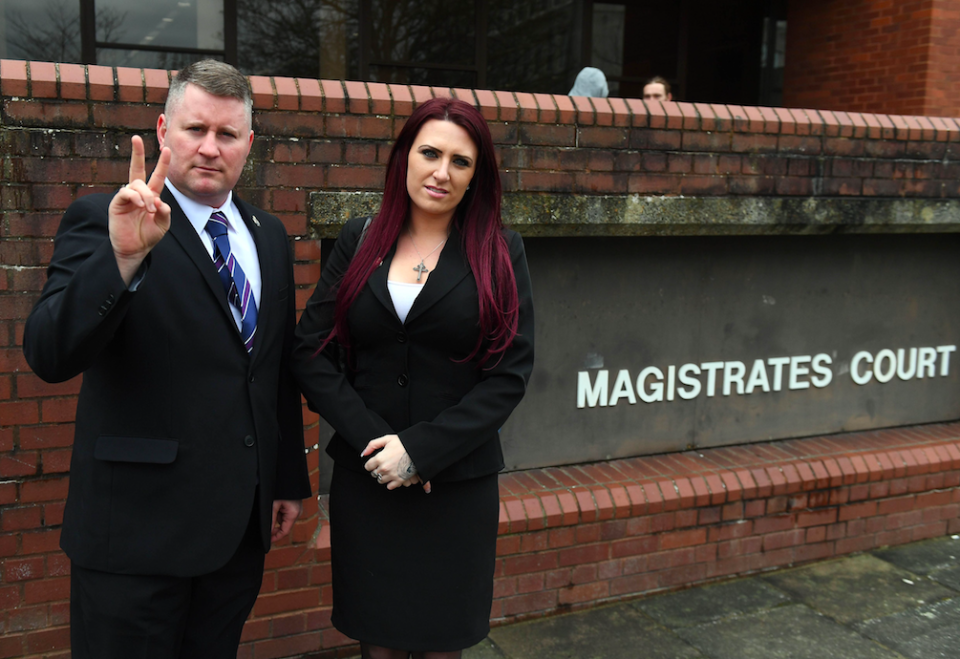 <em>Britain First leader Paul Golding and deputy leader Jayda Fransen were jailed earlier this month after being convicted of religiously-aggravated harassment (Rex)</em>