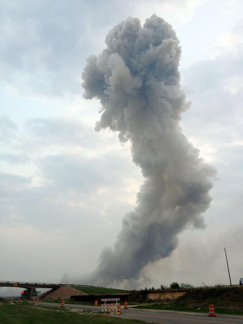 File - In this April 17, 2013, file photo provided by Joe Berti, a plume of smoke rises after an explosion at West Fertilizer Company's fertilizer plant in West, Texas. Burglars occasionally sneaked into the plant in the years before its deadly explosion last month — sometimes looking for a chemical fertilizer that can be used to make methamphetamine, according to local law enforcement records.  (AP Photo/Joe Berti, File)