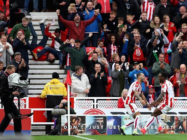 Jese Rodriguez celebrates scoring on his Stoke debut as fans fail to contain their delight (Getty)