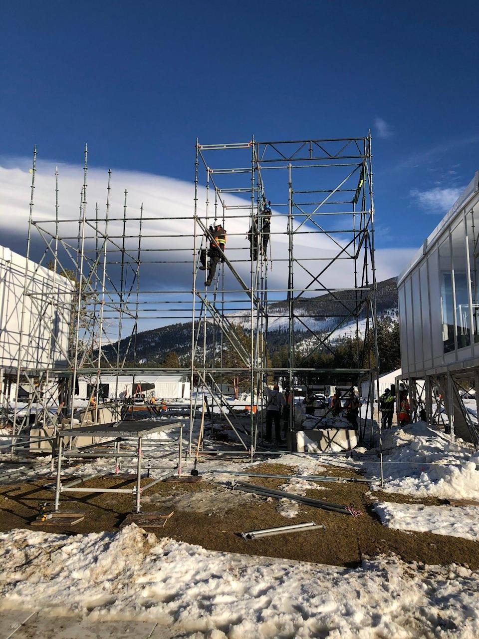 Construction on the facilities that will be used for the NHL games on the Edgewood Tahoe Resort.