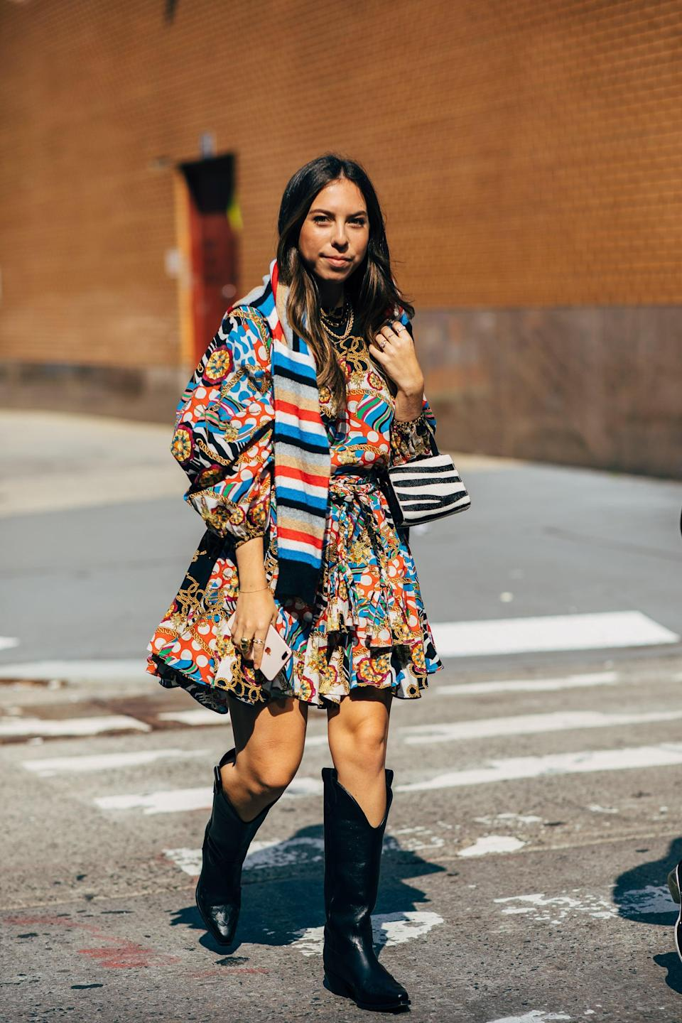 <p>Pair a flirty dress with sturdy boots that can take you anywhere.</p>