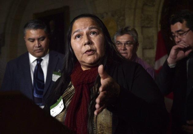Judy Wilson, Chief of Neskonlith Indian Band and Executive Member of the Union of B.C. Indian Chiefs speaks during a press conference in the foyer of the House of Commons on Dec. 4, 2017.