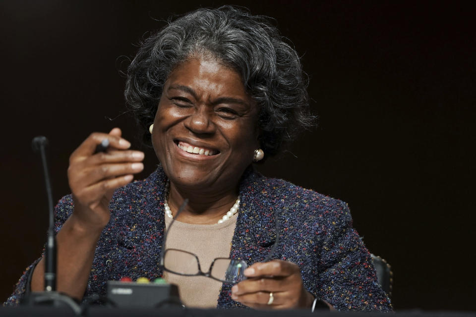 United States Ambassador to the United Nations nominee Linda Thomas-Greenfield smiles as she testifies during for her confirmation hearing before the Senate Foreign Relations Committee on Capitol Hill, Wednesday, Jan. 27, 2021, in Washington. (Greg Nash/Pool via AP)