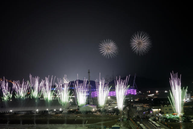 <p>Fireworks explode around the Olympic Stadium to mark the start of the opening ceremony at the 2018 Winter Olympics in Pyeongchang, South Korea, Friday, Feb. 9, 2018. (AP Photo/Kirsty Wigglesworth) </p>