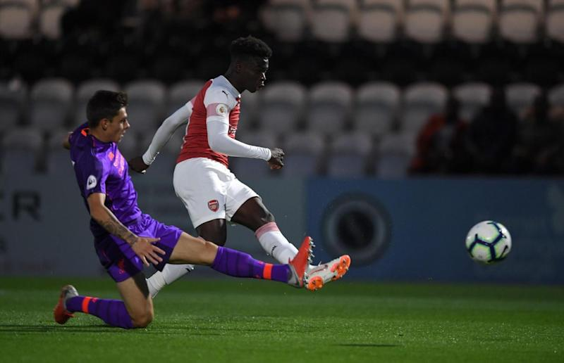 Bukayo Saka on the score sheet for the young Gunners.
