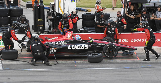 Robert Wickens makes a pit stop during the IndyCar auto race Saturday, June 9, 2018, in Fort Worth, Texas. (AP Photo/Larry Papke)