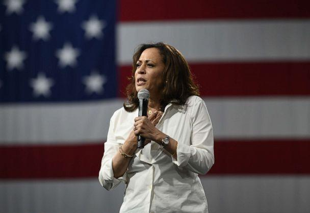 PHOTO: Democratic presidential candidate Sen. Kamala Harris speaks on stage during a forum on gun safety at the Iowa Events Center on August 10, 2019 in Des Moines, Iowa. (Stephen Maturen/Getty Images)