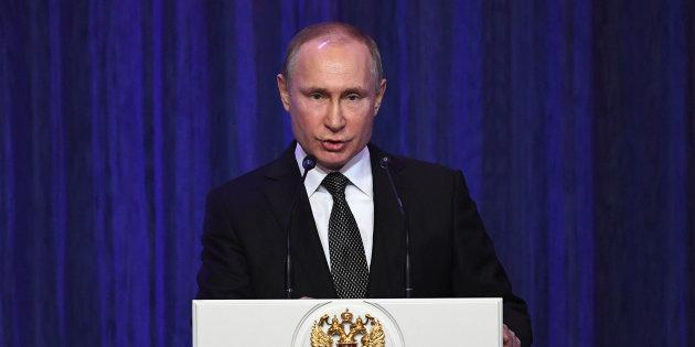 Russian President Vladimir Putin delivers a speech in Moscow on Feb. 22, 2018.