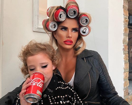 Kate Price poses in coke can heat roller photoshoot Bunny, six, in makeup drinking coke stirs up controversy