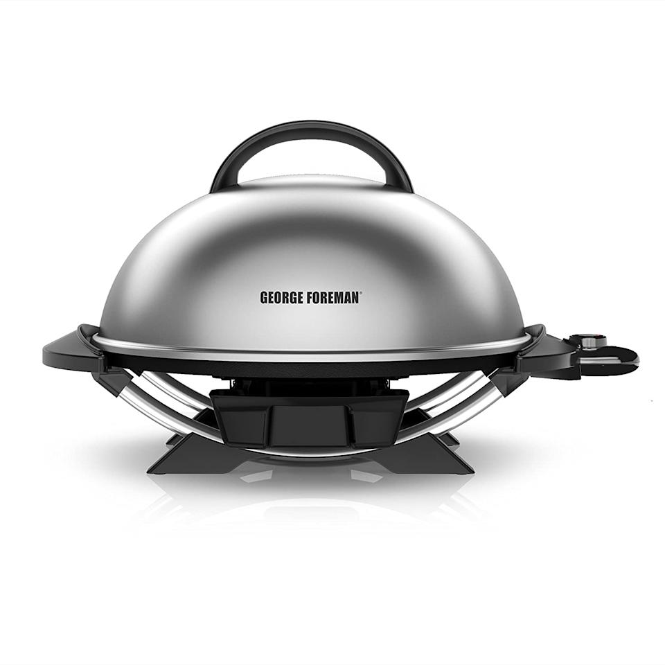 George Foreman Indoor/Outdoor Electric Grill with Adjustable Stand. Image via Amazon.