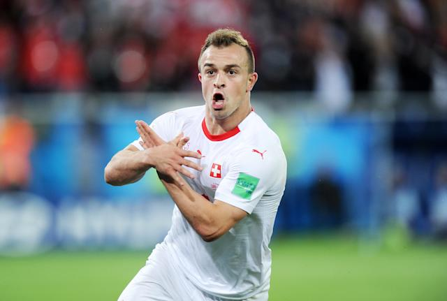 Xherdan Shaqiri was fined for this celebration during the World Cup