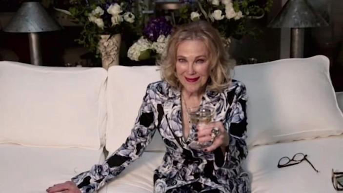78th ANNUAL GOLDEN GLOBE AWARDS -- Pictured in this screen grab: Catherine O'Hara attends the 78th Annual Golden Globe Awards broadcast on February 28, 2021 -- (Photo by: NBC)