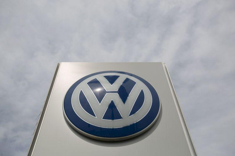 The logo of a Volkswagen dealership is pictured in Pasadena