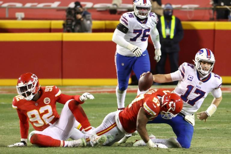 Kansas City's Alex Okafor sacks Buffalo quarterback Josh Allen in the fourth quarter of the Chiefs' victory over the Bills in the NFL's AFC Championship game