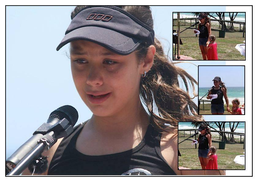 Melissa McGuinness's daughter Montana cries at her brother's memorial in January 2013 on the Gold Coast.