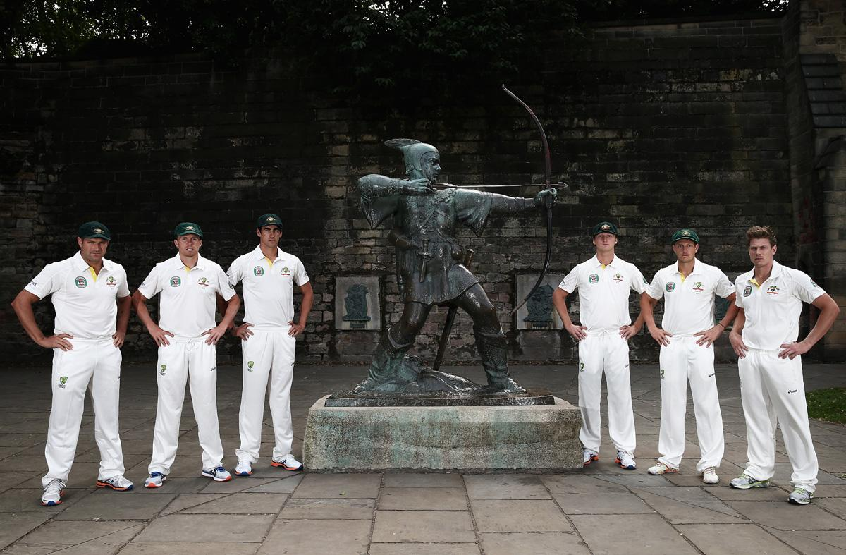 NOTTINGHAM, ENGLAND - JULY 08:  (L-R) Ryan Harris, Peter Siddle, Mitchell Starc, Jackson Bird, James Pattinson and James Faulkner of Australia pose with the Robin Hood statue during an Australian Fast Bowlers Portrait Session at Nottingham Castle on July 8, 2013 in Nottingham, England.  (Photo by Ryan Pierse/Getty Images)