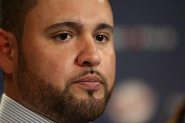 Ricky Nolasco answers questions during a news conference at Target Field in Minneapolis, Tuesday, Dec. 3, 2013. The Minnesota Twins have finalized a $49 million, four-year contract with right-hander Nolasco. (AP Photo/The Star Tribune, Kyndell Harkness)