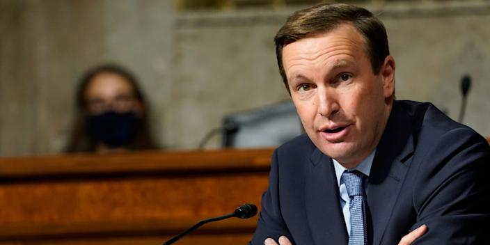 In this Sept. 24, 2020 file photo, Sen. Chris Murphy, D-Conn., speaks during a Senate Foreign Relations Committee hearing on Capitol Hill in Washington.