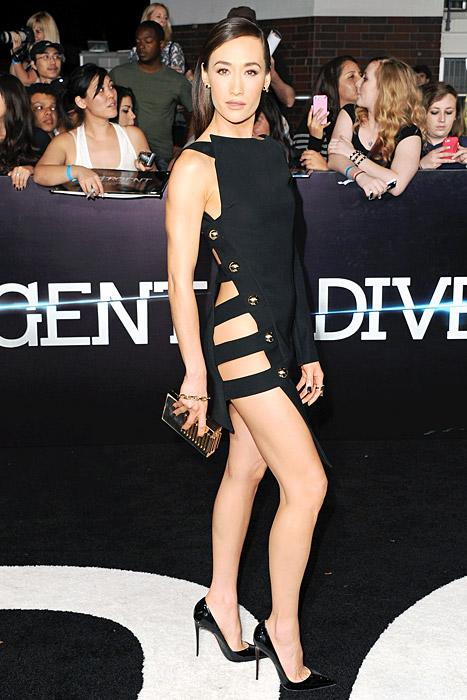 Maggie Q Goes Without Underwear in Little Black Dress at Divergent Premiere