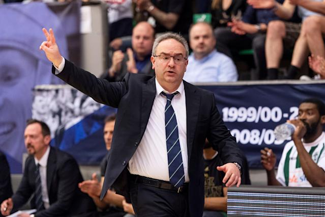 Basketball - FIBA Europe Cup - Bakken Bears vs Sidigas Scandone Avellino - Aarhus, Denmark - April 18, 2018 - Sidigas Scandone Avellino's head coach Stefano Sacripanti gestures during the semifinal. Scanpix Denmark/via REUTERS ATTENTION EDITORS - THIS IMAGE WAS PROVIDED BY A THIRD PARTY. DENMARK OUT. NO COMMERCIAL OR EDITORIAL SALES IN DENMARK