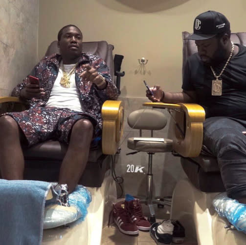 "<p>Apparently, the rapper likes to be pampered from head to toe! (Photo: <a href=""https://www.instagram.com/p/BU0dqEhAaEE/"" rel=""nofollow noopener"" target=""_blank"" data-ylk=""slk:Meek Mill via Instagram"" class=""link rapid-noclick-resp"">Meek Mill via Instagram</a>) </p>"