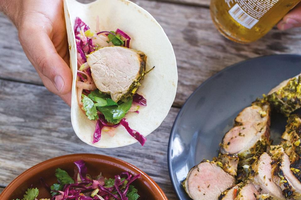 """Perfect with a couple of Coronas with lime wedges, these tacos are topped with a tangy apple cider vinegar-dressed slaw of grated green apples, crisp <a href=""""https://www.epicurious.com/recipes-menus/17-of-the-best-cabbage-recipes-gallery?mbid=synd_yahoo_rss"""" rel=""""nofollow noopener"""" target=""""_blank"""" data-ylk=""""slk:cabbage"""" class=""""link rapid-noclick-resp"""">cabbage</a>, and cilantro. The combination of hot, tangy, and sweet flavors is amazing. <a href=""""https://www.epicurious.com/recipes/food/views/mojo-pork-tacos-with-sweet-apple-slaw?mbid=synd_yahoo_rss"""" rel=""""nofollow noopener"""" target=""""_blank"""" data-ylk=""""slk:See recipe."""" class=""""link rapid-noclick-resp"""">See recipe.</a>"""