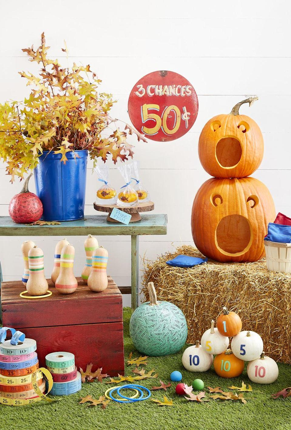 "<p>Is your annual fall fair cancelled this year? Set up your own at home for a fun-filled weekend extravaganza, complete with a gourd ring toss, pumpkin knock-down game, and fun prizes for all. </p><p><a class=""link rapid-noclick-resp"" href=""https://www.amazon.com/Nice-purchase-Realistic-Artificial-Thanksgiving/dp/B07GTSGW4Q/?tag=syn-yahoo-20&ascsubtag=%5Bartid%7C10050.g.2633%5Bsrc%7Cyahoo-us"" rel=""nofollow noopener"" target=""_blank"" data-ylk=""slk:SHOP MINI PUMPKINS"">SHOP MINI PUMPKINS</a></p>"