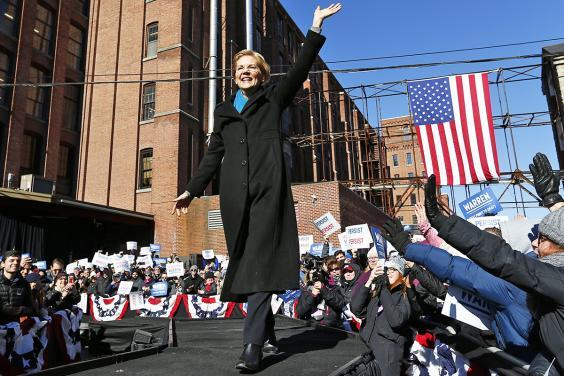 Ms Warren launches campaign in city of Lawrence (EPA)