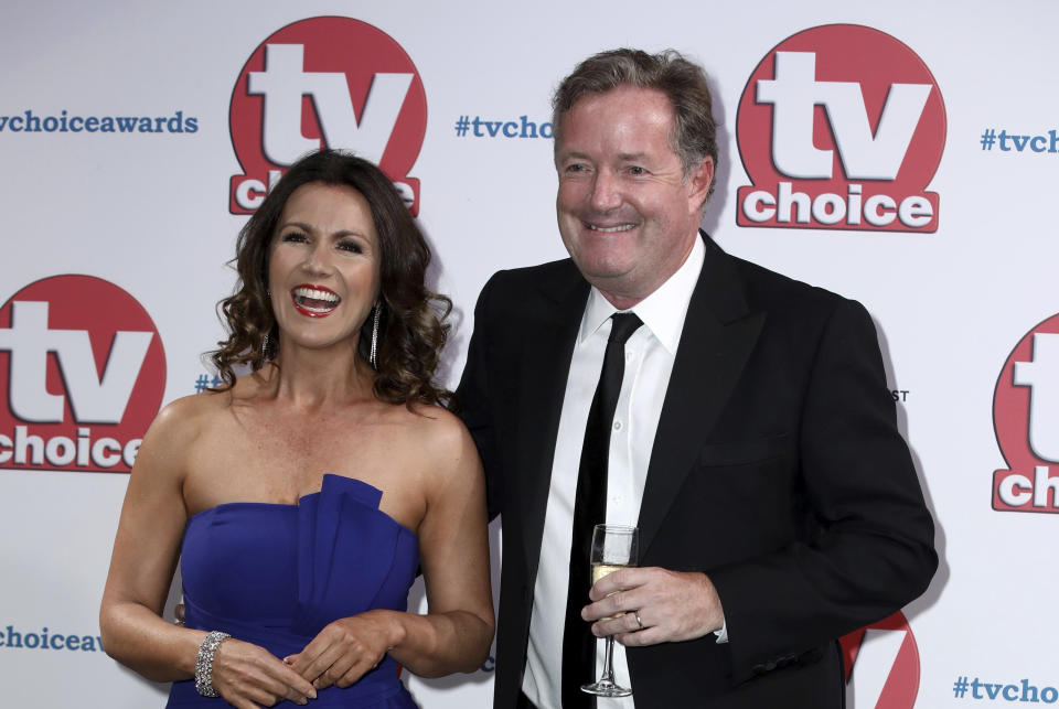 TV Presenters Susanna Reid and Piers Morgan pose for photographers on arrival at the TV Choice Awards in central London on Monday, Sept. 9, 2019. (Photo by Grant Pollard/Invision/AP)