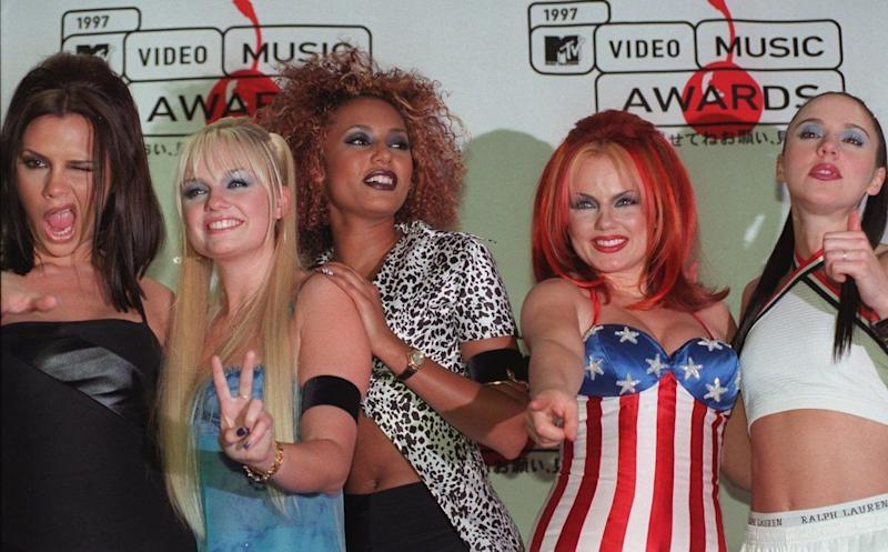 <strong>1997</strong> The Spice Girls are shown at the MTV Video Music Awards at New York's Radio City Music Hall