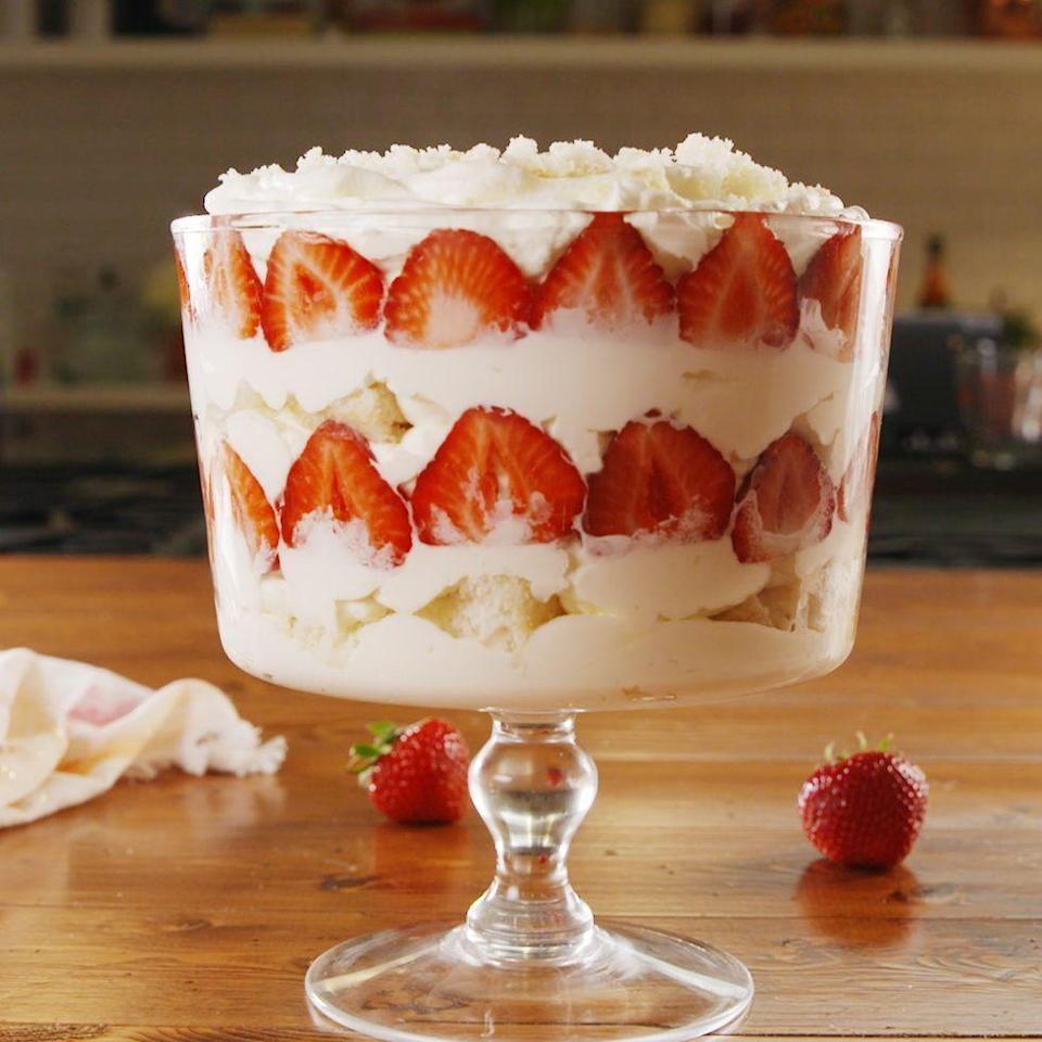 """<p>This isn't one of those novelty spiked desserts, where you can't actually taste any booze. The cake, as fluffy and soft as it is, truly tastes like bubbly. And even the whipped cream has champagne! </p><p>Get the <a href=""""https://www.delish.com/uk/cooking/recipes/a35028216/strawberry-champagne-trifle-recipe/"""" rel=""""nofollow noopener"""" target=""""_blank"""" data-ylk=""""slk:Strawberry Champagne Trifle"""" class=""""link rapid-noclick-resp"""">Strawberry Champagne Trifle</a> recipe.</p>"""