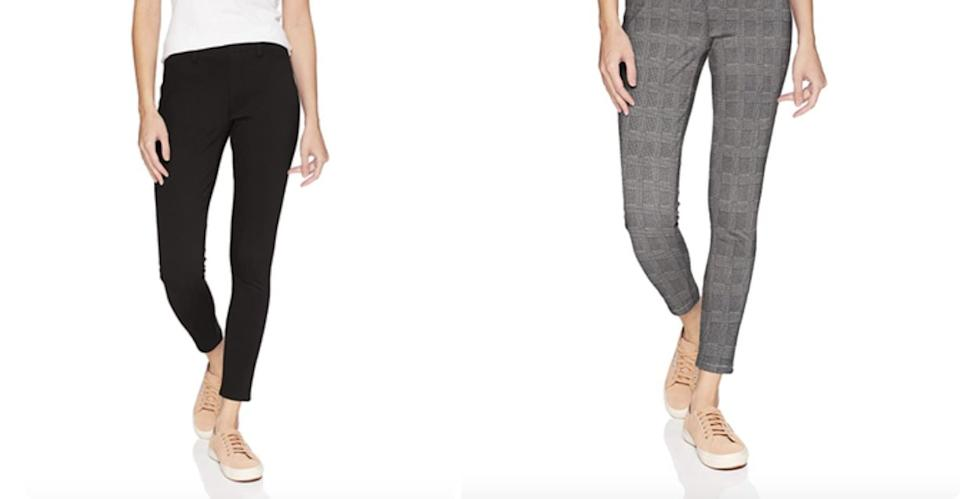 """These have thousands of 5-star reviews that almost unanimously state they<i>feel</i>like leggings but<i>look</i>like jeans.<br /><br /><strong>Promising review</strong>: """"I love, love, love these pants.<strong>I have them in the black and the dark blue wash. They go with everything and are so comfortable that I want to wear them every day!</strong>I usually wear premium denim but I am reaching for these now. The price is definitely right at $20. They look good with boots, flip-flops or tennis shoes. If you're on the fence, get these."""" —<a href=""""https://www.amazon.com/gp/customer-reviews/R2V9MWT0EEP7R6?&linkCode=ll2&tag=huffpost-bfsyndication-20&linkId=370873bde7f668132499bed737ddf74b&language=en_US&ref_=as_li_ss_tl"""" target=""""_blank"""" rel=""""nofollow noopener noreferrer"""" data-skimlinks-tracking=""""5876227"""" data-vars-affiliate=""""Amazon"""" data-vars-asin=""""none"""" data-vars-href=""""https://www.amazon.com/gp/customer-reviews/R2V9MWT0EEP7R6?tag=bfchelsea-20&ascsubtag=5876227%2C25%2C35%2Cmobile_web%2C0%2C0%2C16399387"""" data-vars-keywords=""""cleaning,fast fashion"""" data-vars-link-id=""""16399387"""" data-vars-price="""""""" data-vars-product-id=""""1"""" data-vars-product-img=""""none"""" data-vars-product-title=""""Placeholder- no product"""" data-vars-retailers=""""Amazon"""">DM Lover</a><br /><br /><strong><a href=""""https://www.amazon.com/Amazon-Essentials-Womens-Stretch-Jegging/dp/B0829R9M5G?&linkCode=ll1&tag=huffpost-bfsyndication-20&linkId=5bf633caec7bfc0781d06da87194f9bc&language=en_US&ref_=as_li_ss_tl"""" target=""""_blank"""" rel=""""noopener noreferrer"""">Get them from Amazon for$20.90+(available in sizes XS–XXL in short, regular, and long and 15 colors).</a></strong>"""