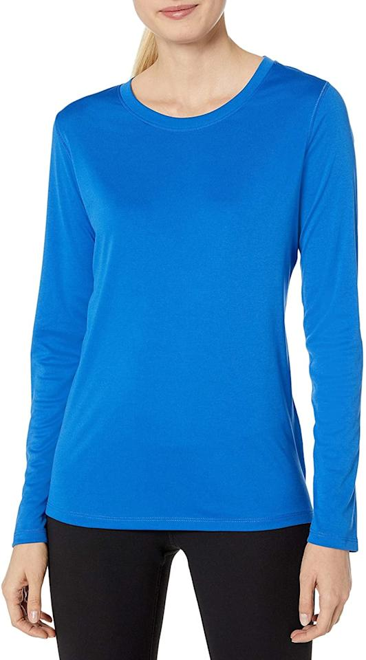 """<p>Stay warm with this <product href=""""https://www.amazon.com/Hanes-Womens-Performance-Sleeve-Awesome/dp/B01M20UQCV/ref=zg_bs_3456051_3?_encoding=UTF8&amp;psc=1&amp;refRID=XJAQYK1WMNGF43BG14GN"""" target=""""_blank"""" class=""""ga-track"""" data-ga-category=""""internal click"""" data-ga-label=""""https://www.amazon.com/Hanes-Womens-Performance-Sleeve-Awesome/dp/B01M20UQCV/ref=zg_bs_3456051_3?_encoding=UTF8&amp;psc=1&amp;refRID=XJAQYK1WMNGF43BG14GN"""" data-ga-action=""""body text link"""">Hanes Women's Sport Cool Dri Performance Long Sleeve Tee</product> ($9, originally $15).</p>"""