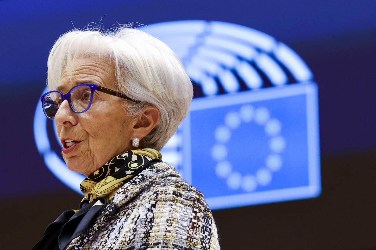 European Central Bank President Christine Lagarde addresses European lawmakers during a plenary session at the European Parliament in Brussels, on February 8, 2021. (Photo by Olivier Matthys / POOL / AFP) (Photo by OLIVIER MATTHYS/POOL/AFP via Getty Images)