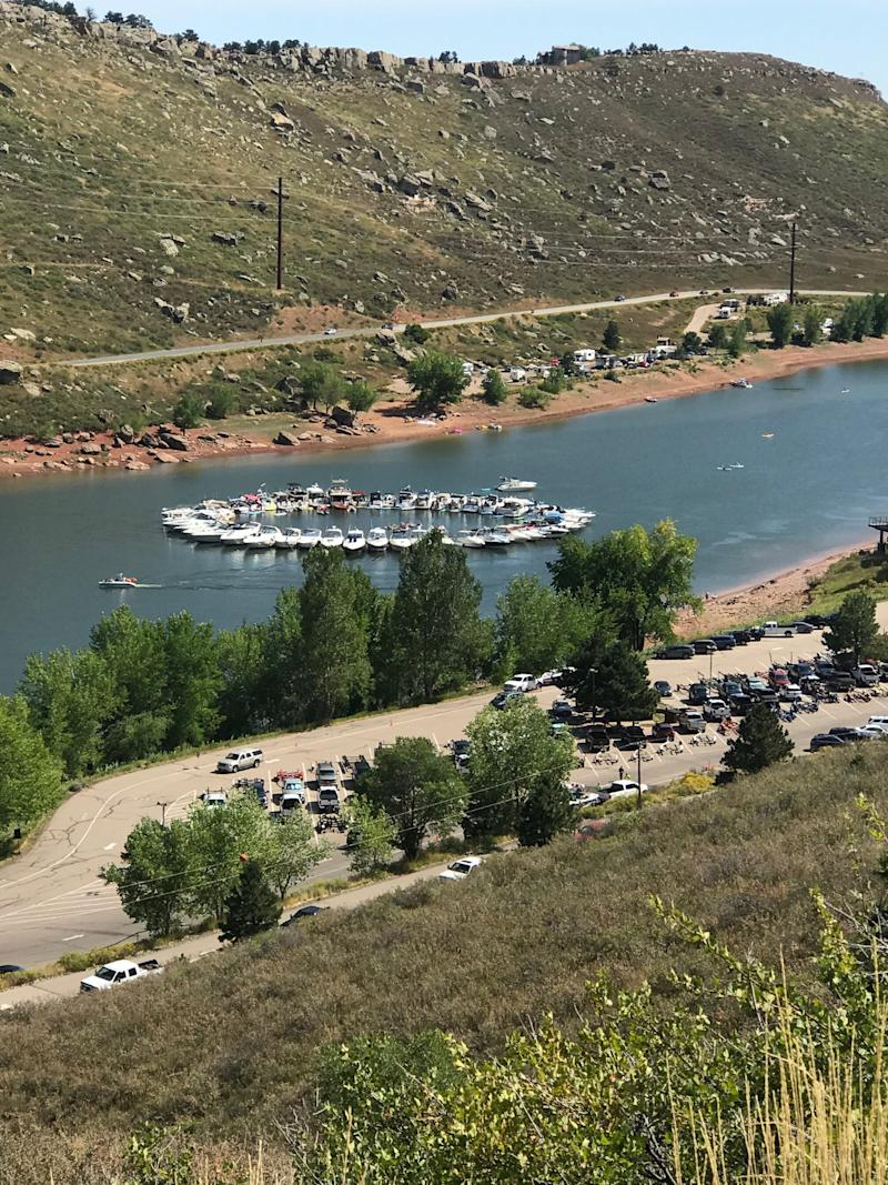 Boats form a circle in the Ships Wheel at Horsetooth Reservoir on Saturday.
