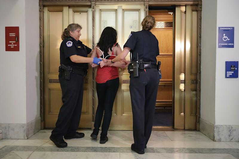 Capitol Police officers arrest a protester.
