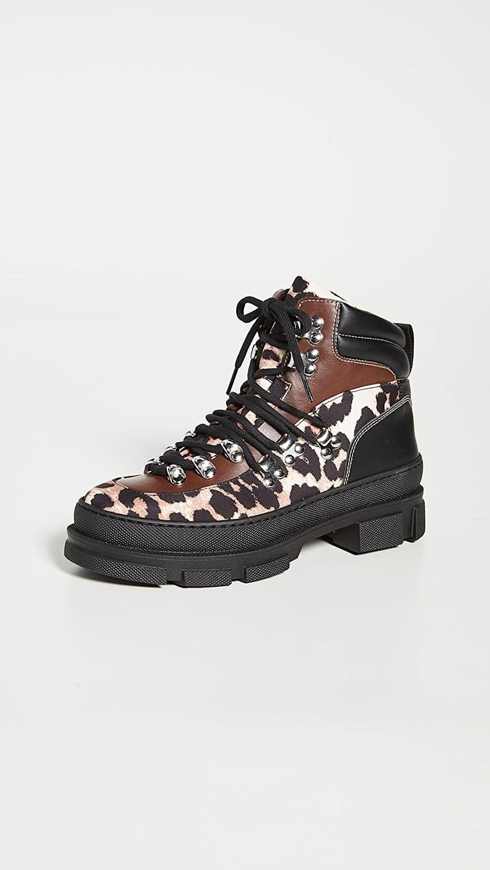 <p>Hiking boots are popular right now, and these <span>Ganni Sporty Hiking Boots</span> ($475) are the Leo version.</p>