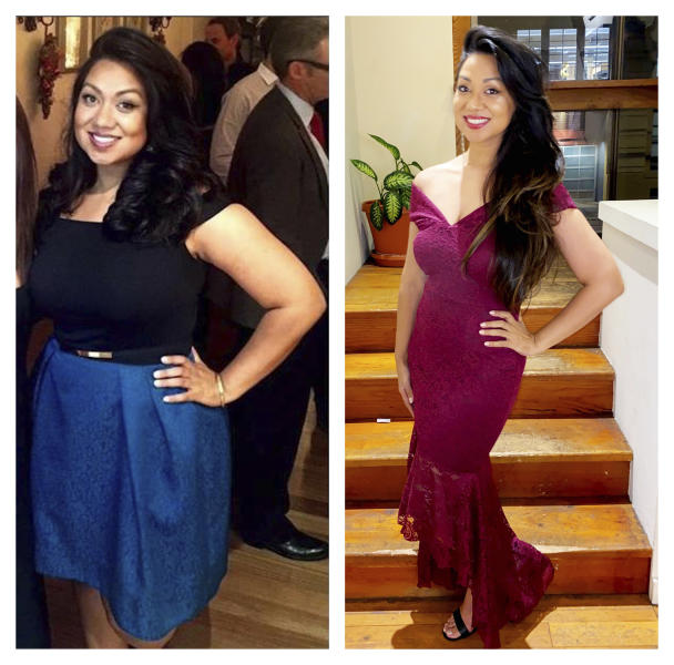 "This combination of 2015 and 2019 photos provided by Sumaya Kazi shows her before and after her intermittent fasting regimen. Kazi, who posts about her success with intermittent fasting on social media, says it might seem more difficult than it is partly because overeating has become the norm. ""Intermittent fasting is more of a mental challenge than a physical challenge,"" she says. (Courtesy Sumaya Kazi via AP)"
