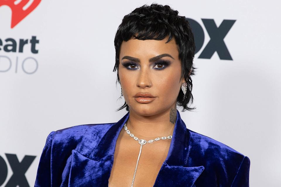 LOS ANGELES, CALIFORNIA - MAY 27: Demi Lovato is seen arriving at the 2021 iHeartRadio Music Awards on May 27, 2021 in Los Angeles, California. EDITORIAL USE ONLY (Photo by Emma McIntyre/Getty Images for iHeartMedia)