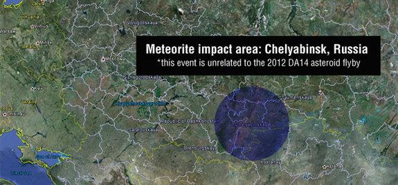A meteor seen flying over Russia on Feb. 15 at 3:20: 26 UTC impacted Chelyabinsk. Preliminary information is that this object was unrelated to asteroid 2012 DA14, which made a safe pass by Earth on the same day.