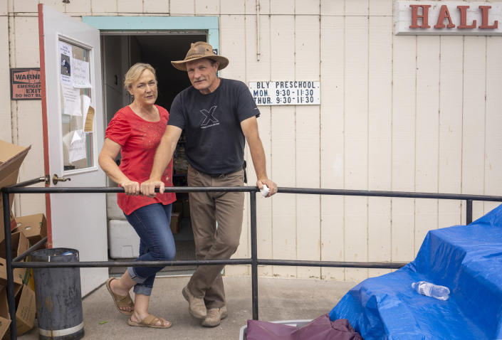 Kari and Steven Beckler, from New Mexico, bought property in Bly where they planned to build their retirement home. (Jim Seida / NBC News)