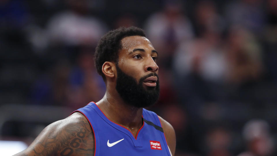 Detroit Pistons center Andre Drummond is seen during the first half of an NBA basketball game, Wednesday, Feb. 5, 2020, in Detroit. (AP Photo/Carlos Osorio)