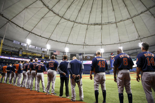 The Astros are coming home Saturday. (Will Vragovic/The Tampa Bay Times via AP)