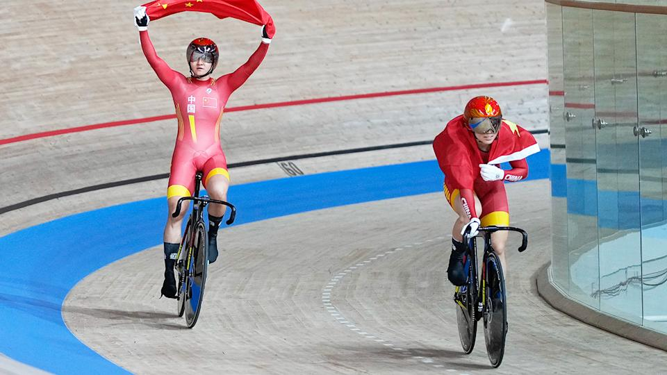 Zhong Tianshi and Bao Shanju, pictured here after winning gold at the Tokyo Olympics.