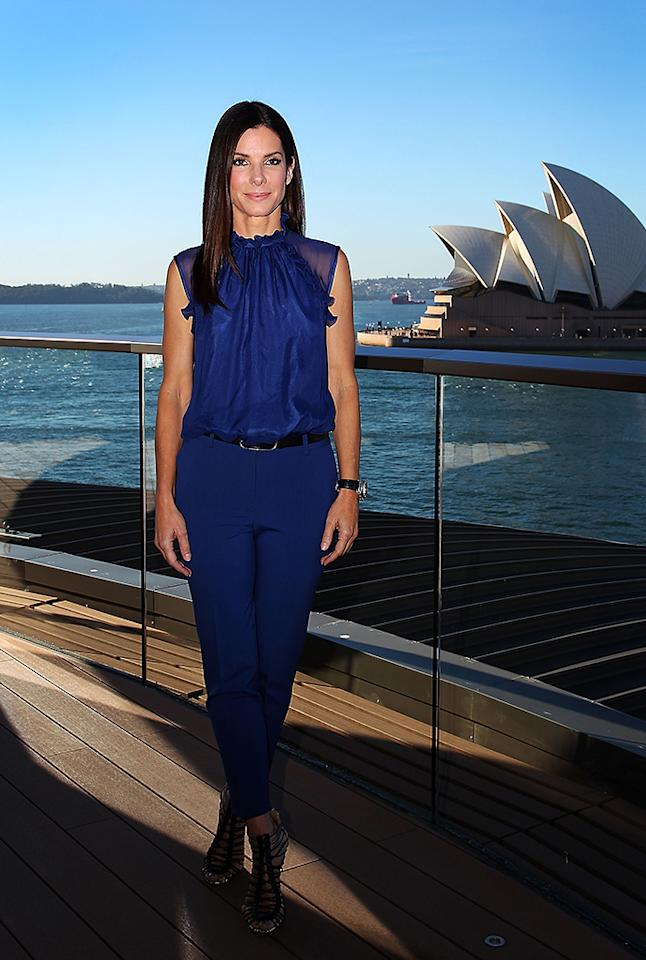"SYDNEY, AUSTRALIA - JULY 02:  Sandra Bullock poses during the ""The Heat"" photo call on July 2, 2013 in Sydney, Australia.  (Photo by Lisa Maree Williams/Getty Images)"