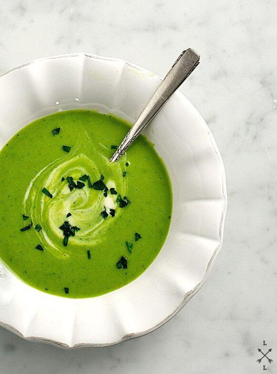"""<p>This light soup is bursting with herb-y goodness in every spoonful. </p><p><strong>Get the recipe at <a href=""""https://www.loveandlemons.com/green-garabanzo-leek-soup/"""" rel=""""nofollow noopener"""" target=""""_blank"""" data-ylk=""""slk:Love and Lemons"""" class=""""link rapid-noclick-resp"""">Love and Lemons</a>.</strong></p>"""