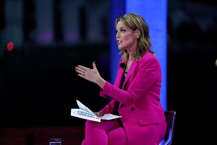 Moderator Savannah Guthrie speaks during an NBC News Town Hall with President Donald Trump at Perez Art Museum Miami, Thursday, Oct. 15, 2020, in Miami.
