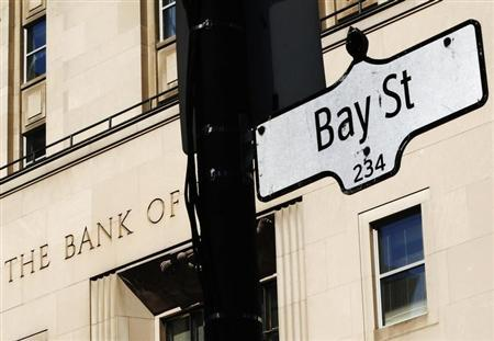 A Bay St sign, a symbol of Canada's economic markets and where main financial institutions are located, is seen in Toronto