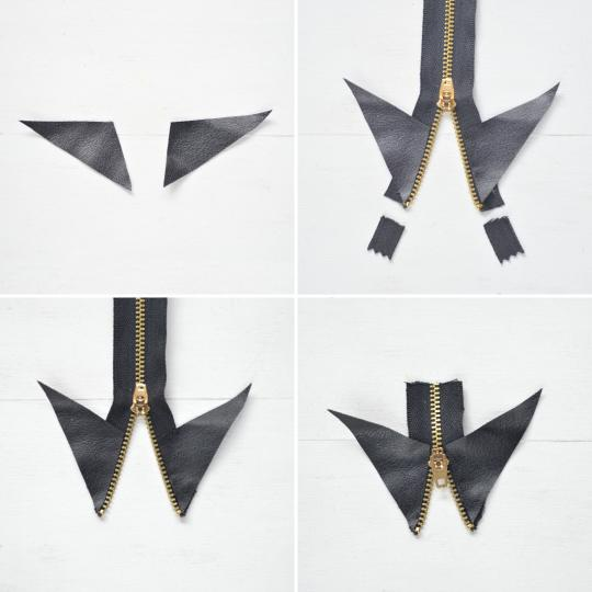 <p>The faux leather triangles should be cut to fit along the front of your shoes. Of course, measurements will vary depending on your shoe size and type. Your best bet is to cut a piece larger than you think you need. From there, you can adjust and trim accordingly. Use this piece as a guide to cut the second triangle. When the triangles are in place, cut the zipper, leaving about one and a half inches. This will provide enough material to fold under the front of the shoe. Then add one flat-dome stud to each side of the triangle.</p>