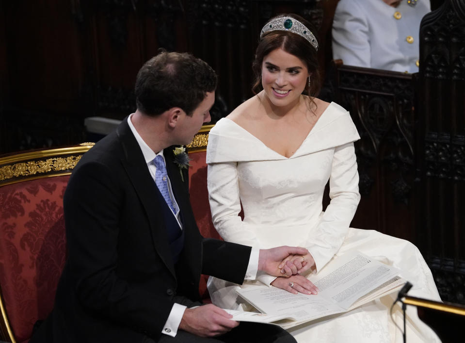 <p>When Jack lovingly admired Eugenie's wedding band. </p>